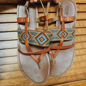 Aztec leather sandals